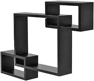 Cypress Shop Rectangular Box Shelf Wall Shelf Mounting Black Intersecting Floating Shelving Unit Home Decor Home Storage Organizer Furniture