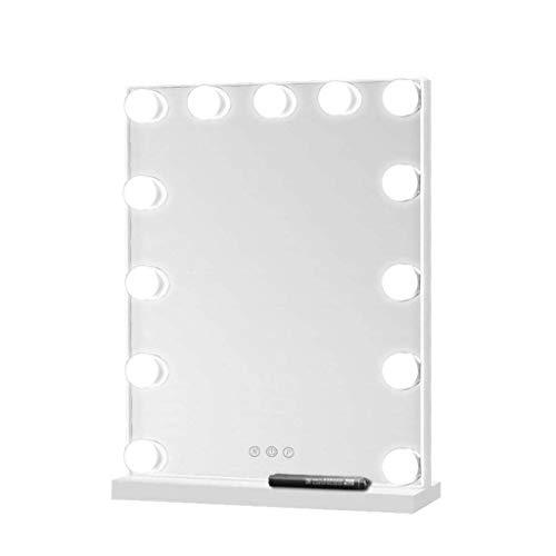 Miroir Maquillage Lumineux Miroir avec des lumières pour la coiffeuse de maquillage | Miroir de maquillage avec 13 LED à intensité variable Miroir de rasage de salle de bain | Touch Control | blan