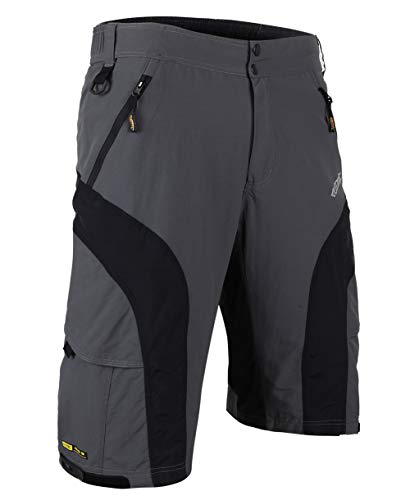 Santic Pantaloncini Larghi da Uomo per Bici/MTB con Rivestimento Rimovibile Imbottito Staccabile 3D Coolmax M
