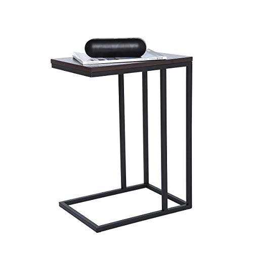 ease Sofa Beistelltisch Couch Beistelltisch Laptoptisch Sofatisch Laptoptisch Holz und Stahl für Kaffee Snacks Tablet(Gestell schwarz+Platte dunkel)