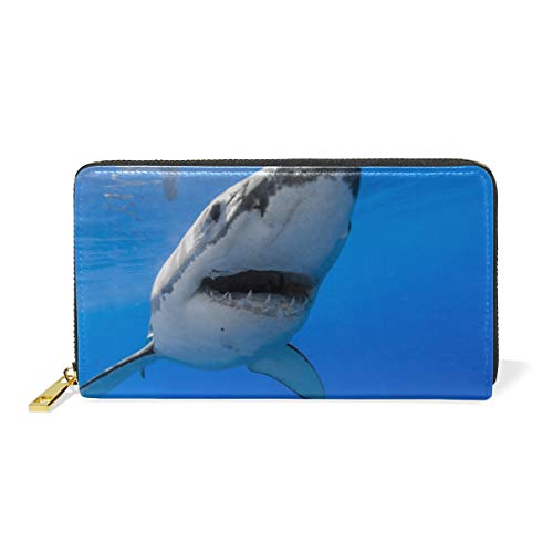 Tiburón Azul del Arte Billetera Mujer Cremallera Billetera de Cuero Cartera Teléfono Tarjeta de Credito Delgada Tarjetero para Chica Hombre