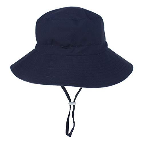 Hawiton Baby Sonnenhut UV Schutz Kleinkind Fisherhut Sommermütze mit Kinnriemen Baumwolle Nackenschutz Hut (Navy Blau, L)