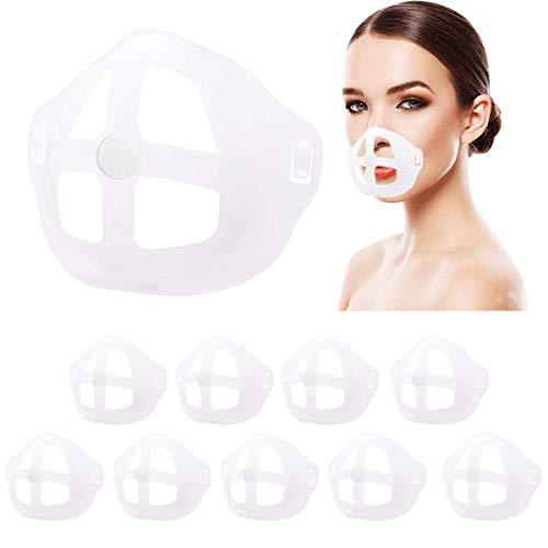 WKTRSM Soportes 3D para Protector Facial Marco Interior Silicona para Respiración Cómoda Soporte de Protección para Pintalabios Lavable y Reutilizable, 10 Piezas