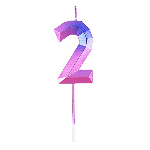 Contrast Color Purple - Pink Number 2 Cake Candle for Birthday Topper Decor 2nd Child Birthday Candle Number Two for Second Birthday for Women Men Girl (Number 2)