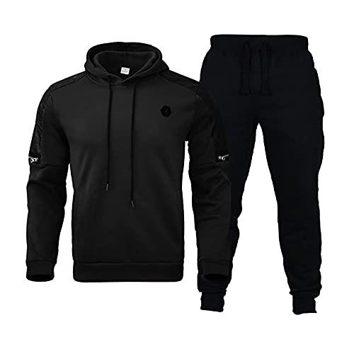 KJIUQ Herren Sweatershirt Sportanzug Lässige Pullover Männer Fitness Hose Hoodie Anzug Winter Pullover Sets Black Pullover Hose Set