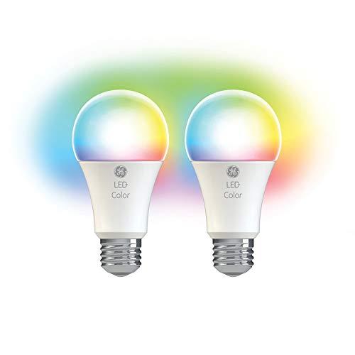 GE Lighting LED+ Farbwechsel-Leuchtmittel mit Fernbedienung, A19, 60-Watt-Ersatz, farbige Glühbirnen mit 10 Farboptionen, 2er-Pack