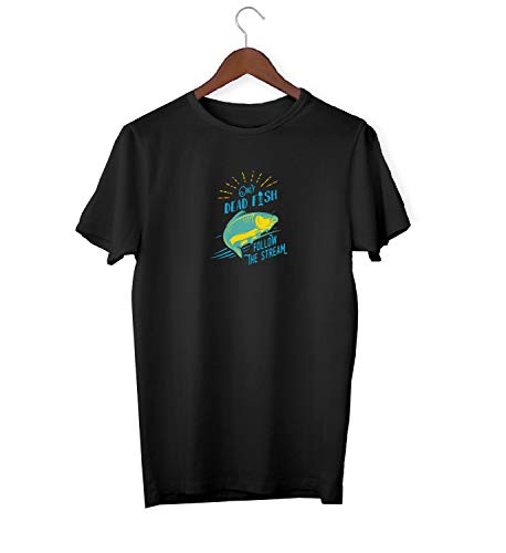 Dead Fish Swim In Stream Awkward Slogan_KK016244 Shirt T-Shirt Tshirt for Men Für Männer Herren Gift for Him Present Birthday Christmas - Men's - 2XL - White