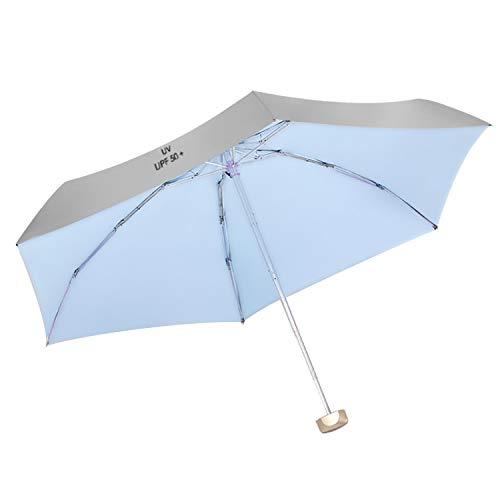 Parapluie portable 5 plis UPF 50+ Parapluie anti-soleil UV pour Voyage Camping Pêche Randonnée Randonnée Shopping Activités de plein air Bleu
