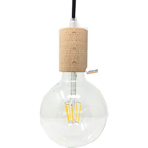Lampenfassung Zylinder in natürlichem Holz für Textilkabel. Made in Italy. Farben: Weiß, Wenge und Naturholz (Natürliches Holz)