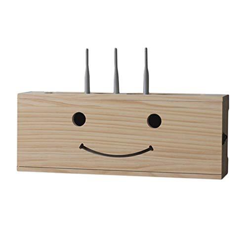 Caja de administración de cables, estante de pared de almacenamiento enrutador, decoración de la pared de la pared, montado en la pared de madera inalámbrica de madera sólida, caja de top, caja de ret