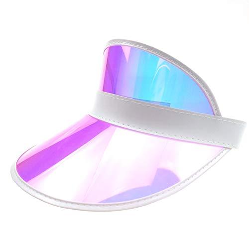 Givocker Women Men Summer Colourful Membrane Sun Visor Caps Transparent Plastic Sun Hat Elastic Headband UV Protection Outdoor Sports Beach Cap Pink