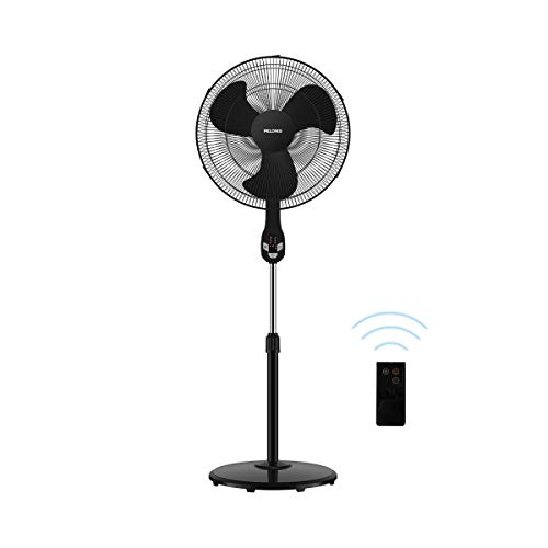 "Pelonis FS45-18UR 18"" Quiet Oscillating Pedestal Fan with LED Display, Remote Control, 3 Speeds and Modes, 7h Programmed Timer for Home and Office, Glossy Black, 18 Inch"