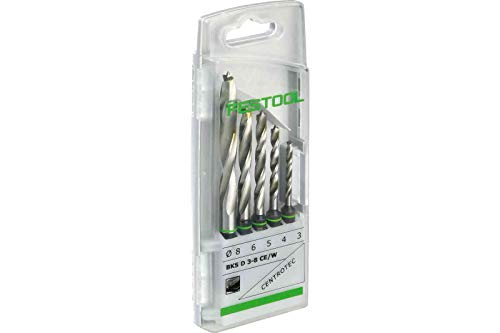 Festool BKS D 3-8 CE/W Drill Bit Case, Metallic, Set of 5 Pieces