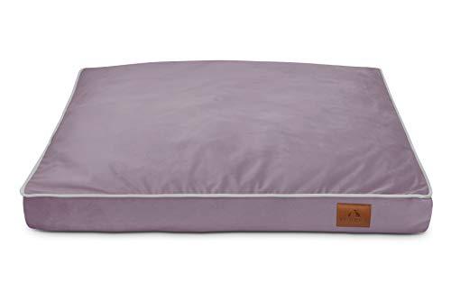 FUUFEE Colchón para perros, cama para perros, sofá para perros, funda extraíble con cremallera, lavable, marrón, 80 x 60 cm, M