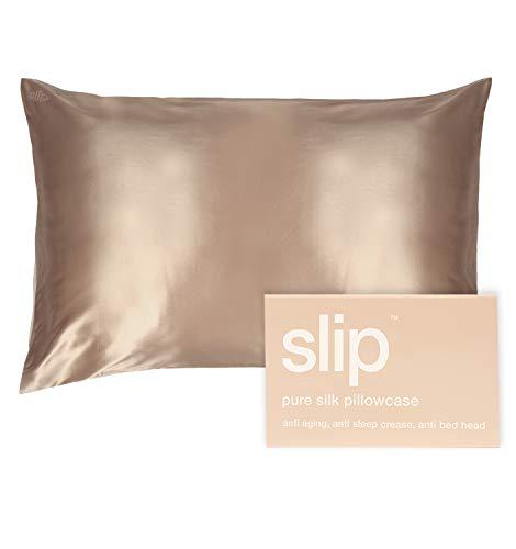 """SLIP Silk Queen Pillowcase, Caramel (20"""" x 30"""") - 100% Pure 22 Momme Mulberry Silk Pillowcase - Breathable and Hypoallergenic Pillowcases for Hair and Skin Health"""