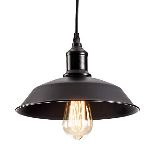 Industriële hanglamp Plafondlamp met plaatlamp Kap Hangende kerstverlichting voor loft Restaurant Café Eetkamer (lamp niet inbegrepen) (Zwart)