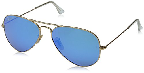 Ray-Ban Aviator Large Metal Sunglasses RB3025- Matte Gold Frame, Crystal Blue Mirror RB3025-112-17-58