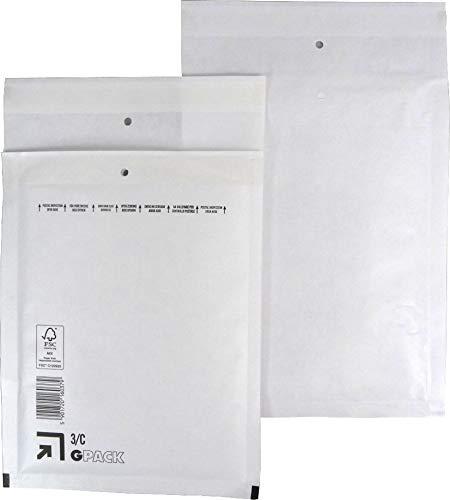 100 Stück Luftpolsterumschläge Luftpolstertaschen Versandtaschen Gr. C3 / DIN A5/B6+ (170 x 225 mm außen) Farbe weiß