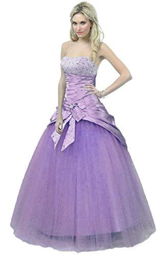 Zorayi - Vestido de noche para mujer, sin tirantes, largo de lentejuelas, vestido de novia Color lila. 40