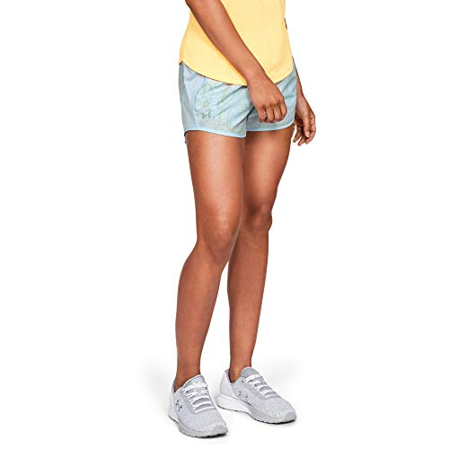 Under Armour Women's Fly-by Printed Shorts, Code Blue//Reflective, Large
