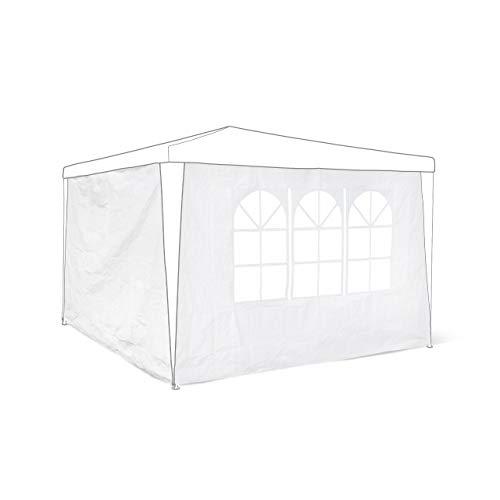 Relaxdays Pavillon-Seitenteile 2-er Set für 3 x 3 m Pavillons Seitenwand mit Fenster für Gartenpavillon und Faltpavillon 2 Teile mit Klettverschluss als Windschutz und Sichtschutz für Partyzelt, weiß