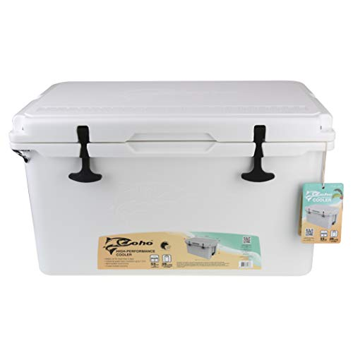 COHO Quick and Cool 55QT Rotomolded Cooler | Beverage Cooler and Camping Cooler for Beach, Kayak, Hiking, Outdoor, and Travel | Insulated Cooler and Heavy Duty Cooler and Ice Box | 55 Qt