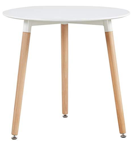 DORAFAIR Runder Esstisch Küchentisch Modern Büro Konferenztisch Weiß Kaffeetisch, Beistelltisch skandinavisch 80 * 80 * 72 cm,Beine Natur, Weiß