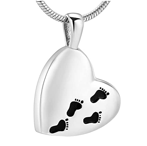 Wxcvz Colgante Conmemorativo Medallón De Cenizas Colgante De Pies De Bebé Collar De Ceniza De Cremación-Joyería De Cremación De Acero Inoxidable Unisex