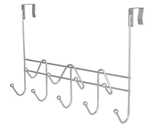 TQVAI Over The Door Hook Hanger Heavy Duty Coat Hooks Rack Organizer 9 Hooks Chrome Silver