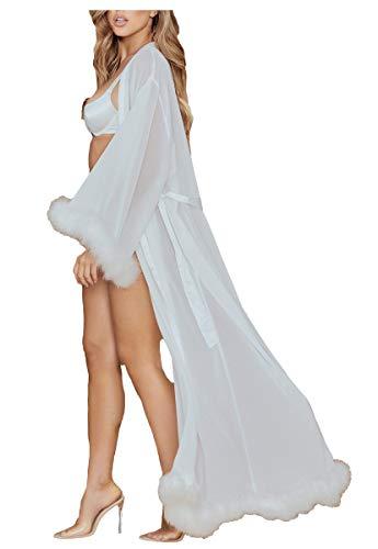 ShineGown Damen Sexy Feder Robe Perspektive Schier Chiffon Dessous Extra Langer Bademantel mit Pelzbesatz Nachthemd Pyjamas Nachtwäsche