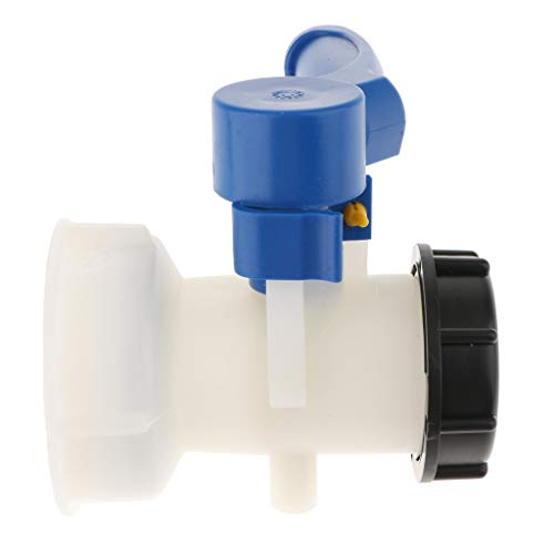 perfk 1000L Adapter mit Auslaufhahn für Regenwassertank,Absperrhahn Einlass Innendurchmesser 75/62mm - Weiß und blau 62mm