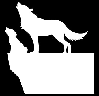 Mama & Baby Wolf Vinyl Decal | White | Made in USA by Foxtail Decals | for Car Windows Tablets Laptops Water Bottles etc | 4.4 x 4.5 inch