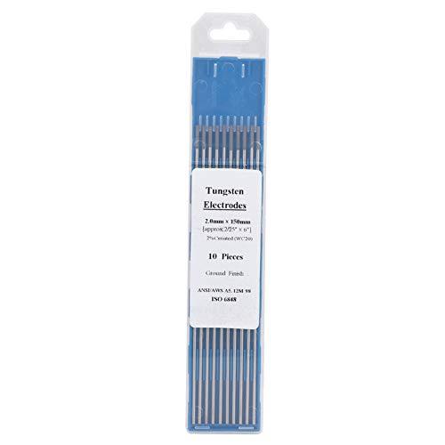 Electrodo de soldadura, 10 piezas de electrodo de tungsteno de cerio WC20, punta gris para máquina de soldadura DC TIG (150 mm)(2.0 * 150mm)