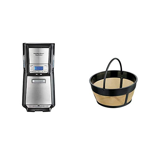 Hamilton Beach (48465) Coffee Maker with 12 Cup Capacity & Internal Storage Coffee Pot, Brewstation, Black & Stainless & Hamilton Beach Permanent Gold Tone Filter, (80675R/80675)