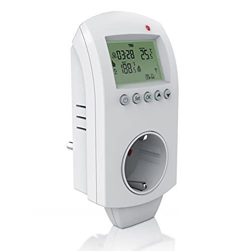 CSL - WLAN Thermostat Steckdose - Steckdosenthermostat - WiFi Smart Life, TUYA - für Heizgeräte und Klimageräte - mit Share-Funktion - 5°-35°C - kompatibel mit Amazon Alexa, Google Home – weiß