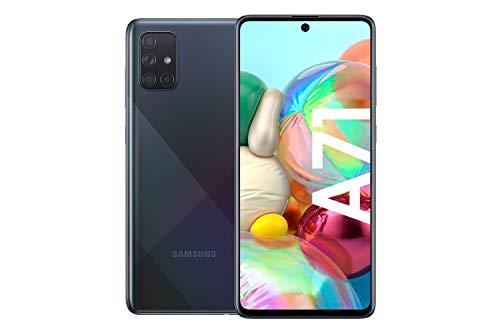 Samsung Galaxy A71 Android Smartphone ohne Vertrag, 4 Kameras, 4.500 mAh Akku, Schnellladen, 6,7 Zoll Super AMOLED Display, 128 GB/6 GB RAM, Dual SIM, Handy in schwarz, deutsche Version