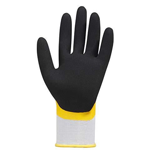 (12 Paar) teXXor Handschuhe Polyester-Strickhandschuhe Latex 12 x weiß/gelb/schwarz 10