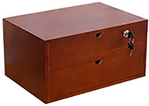 SOAR Aktenschränke - Raccoglitore dati con scatola di archiviazione da scrivania con blocco Mestiera, con struttura in legno massello a 1/2 strati, piccola cassettiera portafogli A4 2-layer