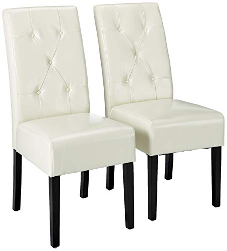 Christopher Knight Home Taylor Leather Dining Chairs, 2-Pcs Set, Ivory