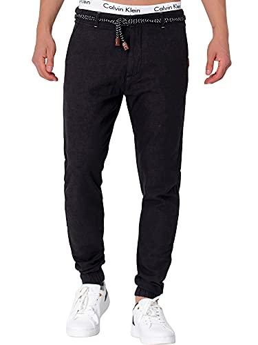 Indicode Blnda - Pantaloni da uomo in 55% lino e 45% cotone con 4 tasche | lunghi Regular Fit Pantaloni estivi da uomo, in cotone con cintura a cordoncino Nero L