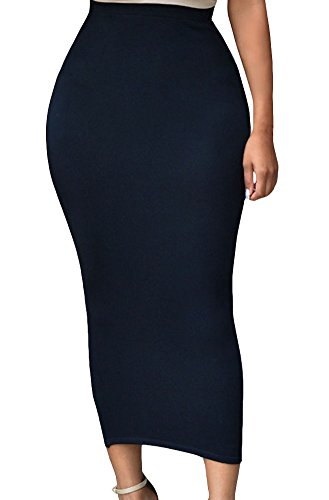 HUUSA Sexy Womens Solid High-Waisted Bodycon Cotton Maxi Skirt (Large, Black)