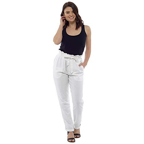 Sterling Sports® Dames Linnen Paper-Bag Taille Broek Zomer Vakantie Oorzaak Zwart Wit Kaki Navy 10 12 14 16 18 20 UK Size