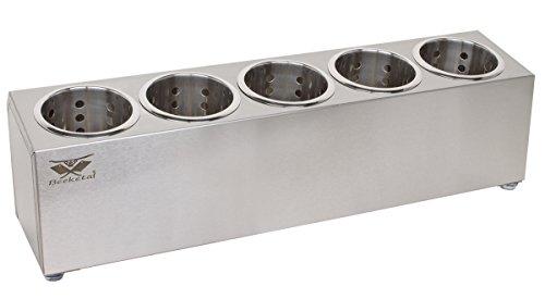 Beeketal 'BBK-5' Profi Gastro Besteckbehälter aus Edelstahl poliert inkl. 5 Köcher einreihig, entnehmbare Besteck Köcher, Oberfläche leicht abgeschrägt - Abmessung (L/B/H): ca. 625 x 150 x 180 mm