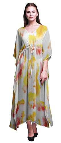 Bimba Yellow Light Tie-Dye Ladies Plus Size Kaftan Summer Wear Beach Coverup Kimono Caftan-4X-5X