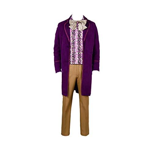 helymore Herren Movie Cosplay Willy Wonka Kostüm Stehkragen Kordstoff Lange Jacke Full Set Zwei Versionen Gr. Männlich L, Purple Full Set