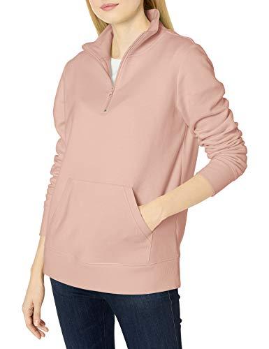Amazon Essentials Long-sleeve Lightweight French Terry Fleece Quarter-zip Top fashion-sweatshirts, rose, S