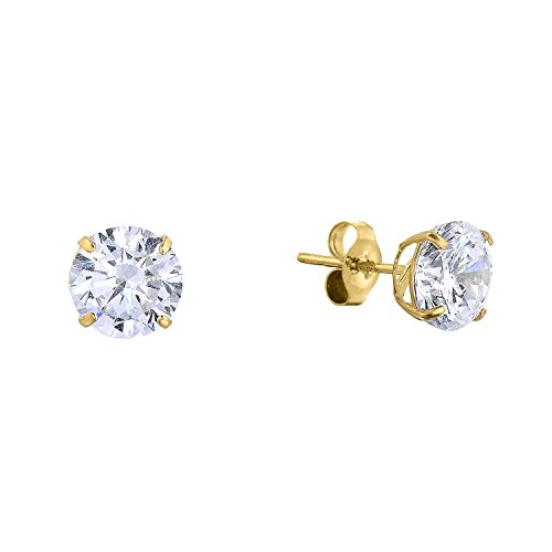 14k Yellow Gold Solitaire Round Cubic Zirconia CZ Stud Earrings with Gold butterfly Pushbacks 5mm