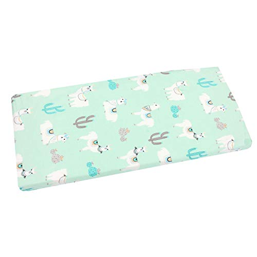 TupTam Baby Bed Crib Cot Fitted Sheets with Printed Designs, Lama Mint green, 90 x 40 cm