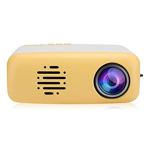 Lazmin112 Mini proyector portátil Lindo LED HD 1080P, Varios Idiomas 24-60 Pulgadas Soporte de Interfaz múltiple Smartphone PC Laptop TV Box Unidad Flash USB Amarillo 100-240V(EU)