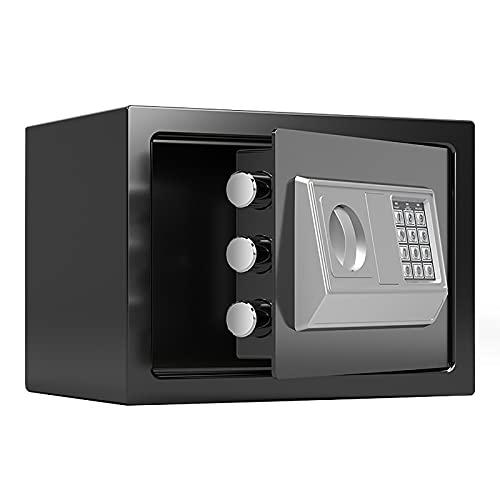 VIY Caja Fuerte Electrónica para Montaje en Pared o Suelo, Caja Fuerte Pequeña para Oficina o Uso doméstico Caja de Seguridad 20 x 31 x 20 cm,Negro
